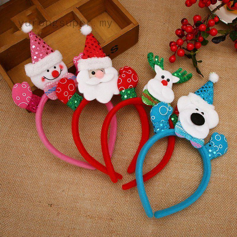 Christmas Headband Craft.Cute Christmas Headband Santa Party Decor Hair Band Clasp Head Hoop Headwear