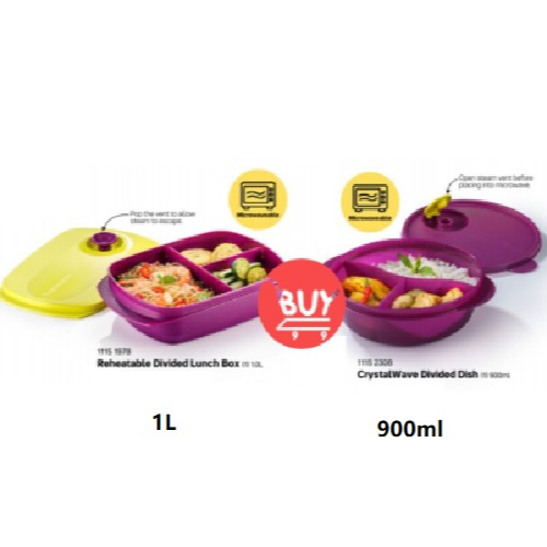 Tupperware: Reheatable Divided Lunch Box / CrystalWave Divided Dish