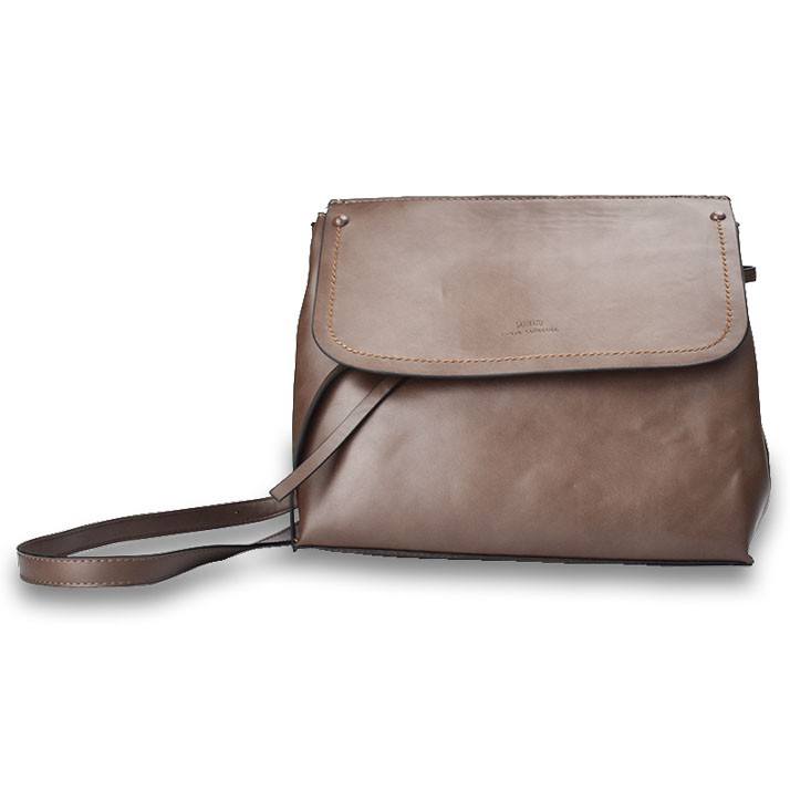 Lulugift Unique Collection Plain Design Leather Sling Bag Brown