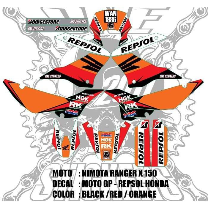 🔥STICKER MOTO🔥 NIMOTA RANGER X 150 & RANGER MAX 200 (MOTO GP - REPSOL  HONDA) DECAL KIT