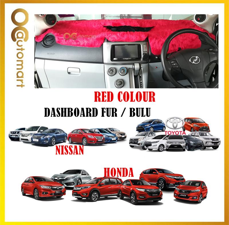 Customized Dashboard Cover Fur / Bulu For Honda Nissan Toyota Isuzu - Red Colour