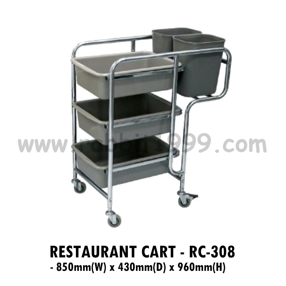 RESTAURANT CART- RC-308- restaurant trolley/ food court cart/ food court trolley/ dish collector cart/ 3 tiers trolley