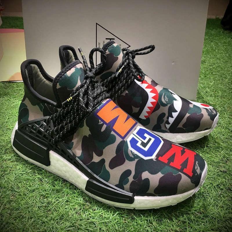bdf39443e Adidas BAPE x adidas Hu NMD Boost Human jogging shoes