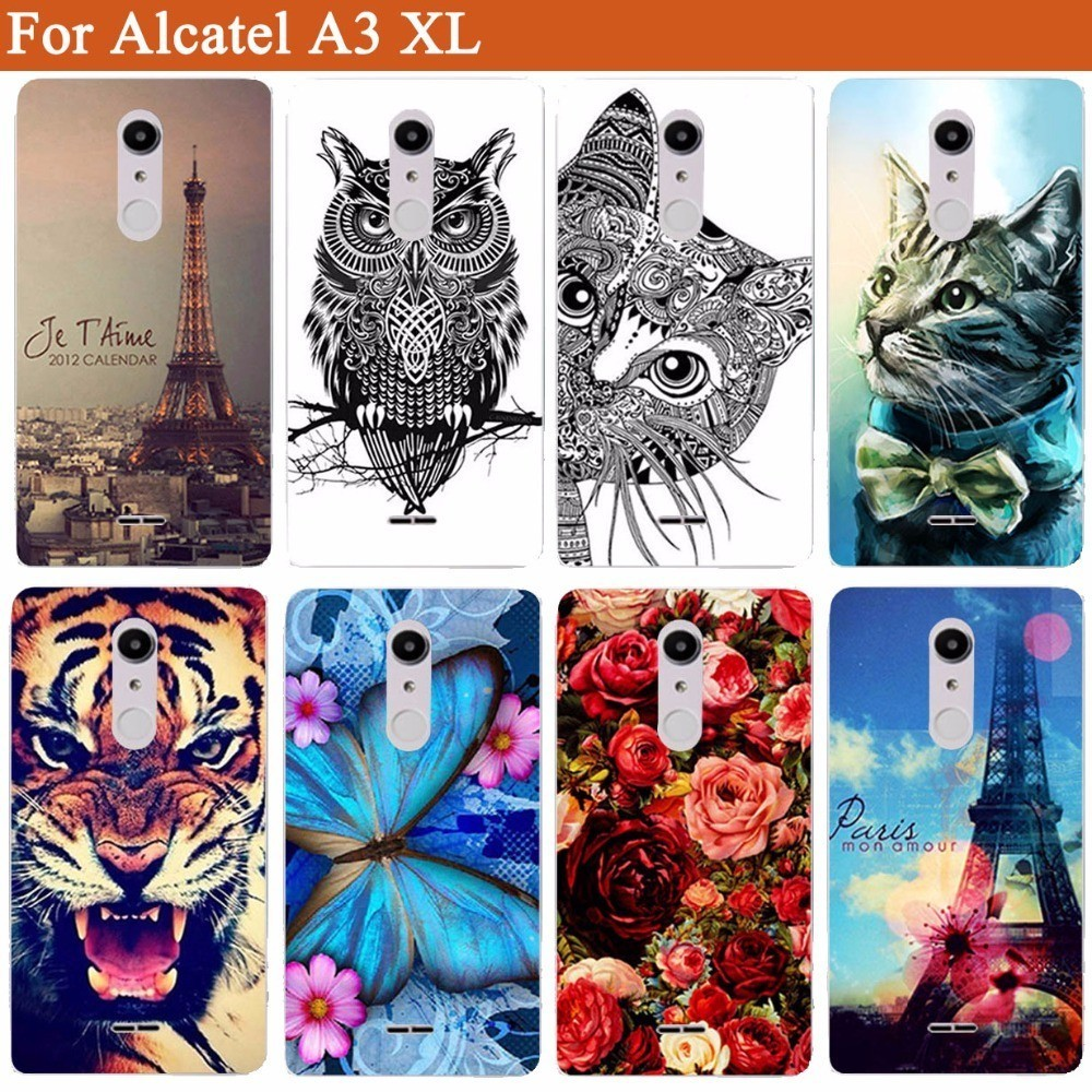the latest 88d8f e9d3c Tiger Owl Rose Eiffel Towers Pattern Painted Soft tpu Case For Alcatel A3 XL