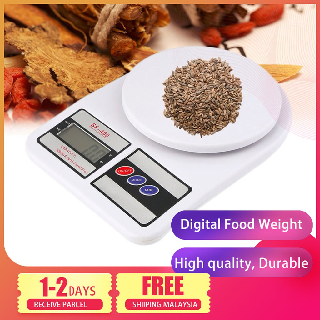 🔥 Ready Stock 🔥Delly 5KG Professional Electronic Digital Kitchen Food Weight Baking Scale White SF-400