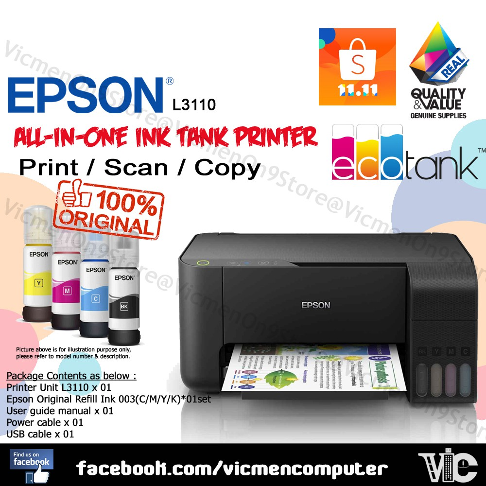 Epson L3110 All-in-One Ink Tank Printer EcoTank Ori ink