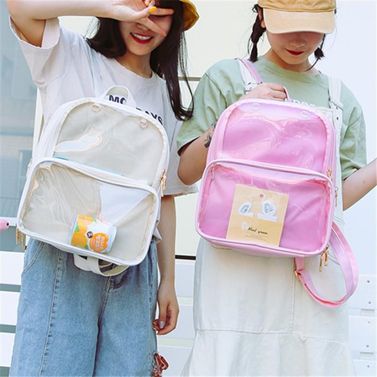 Cute Clear Transparent Bow Backpack Ita Bag Harajuku School Bags ... 564116675b3d