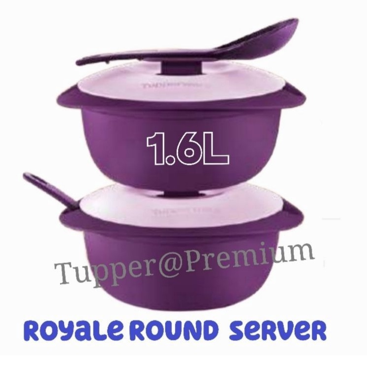 (READY STOCK)Tupperware Purple Royale Round Server with Serving Spoon 1.6L 1pc or 2pcs
