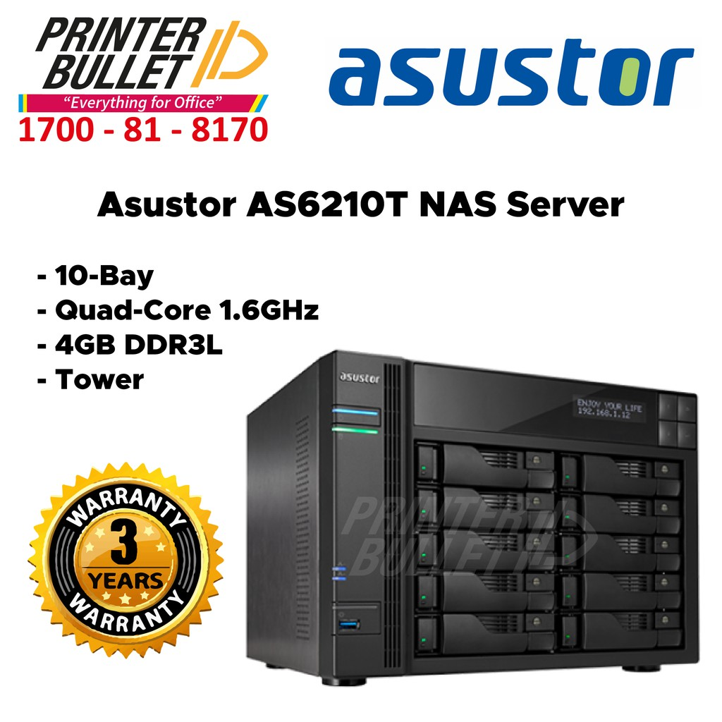 Asustor AS6210T NAS Server (10-Bay, Quad-Core 1.6GHz, 4GB DDR3L, Tower)