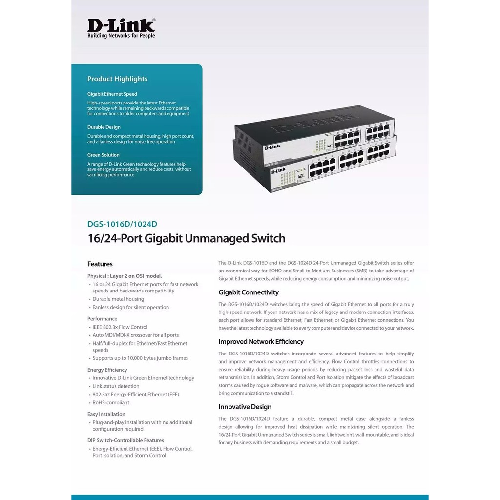 D-LINK DGS-1016D 16 Port Gigabit Steel Case Desktop / Rackmount Network Ethernet LAN RJ45 Switch DGS-1024D DGS-1008A