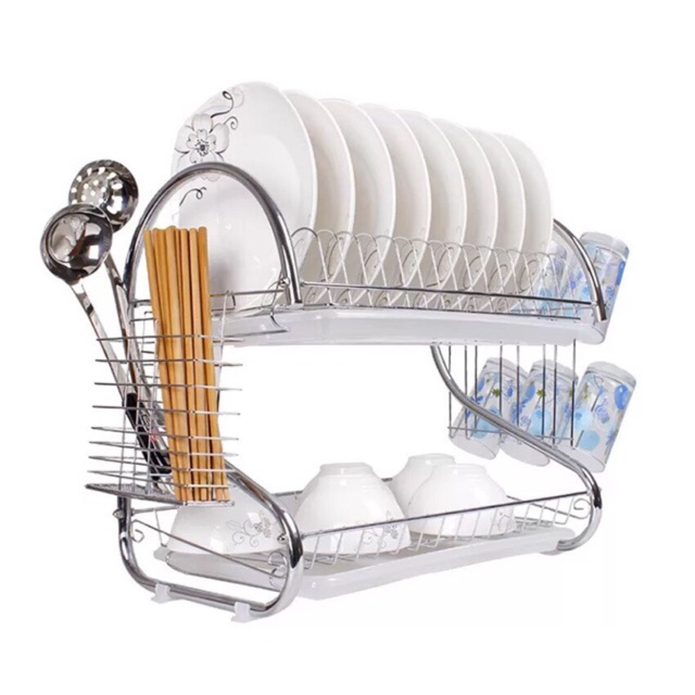 398375ed72ea S-Shaped 2 Layer Plate Dish Cup Cutlery Drainer Rack