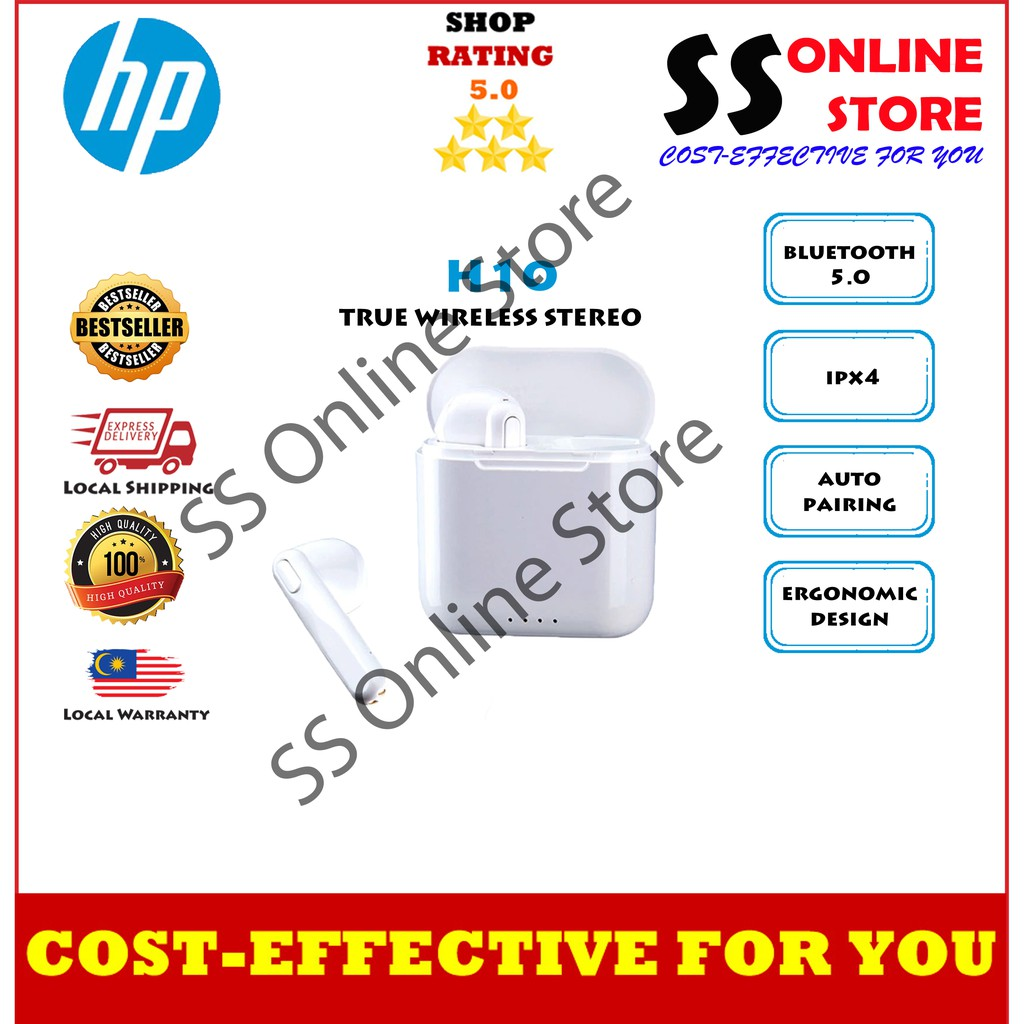 100%ORI HP H10 TWS Bluetooth 5.0 Earphone Wireless in Ear Headphone Mini Stereo Earbuds