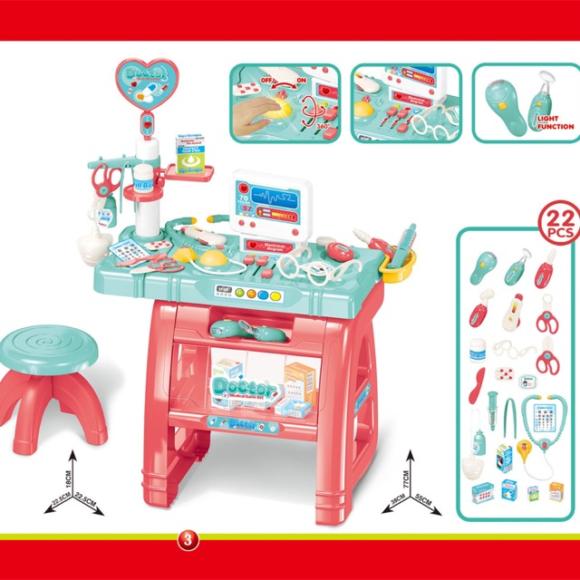 [READY STOCK] Pretend Play Big Doctor set with Music , Light & chair Present Set