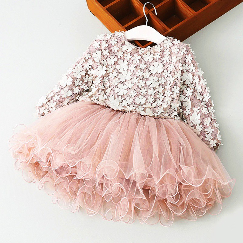 Girls Kids Floral Lace Princess Dress Christmas Costume Long Sleeve Tutu Dress