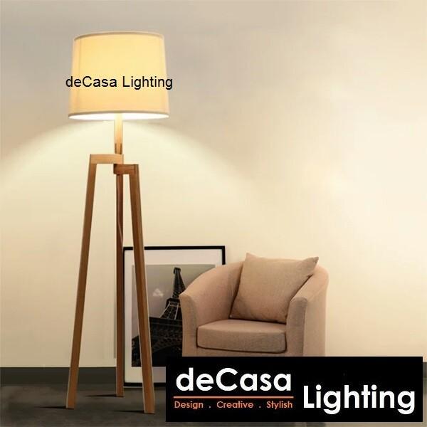 deCasa Lighting Tripod Floor Lamp - Modern Design Wood Mid Century Style Lighting StandLamp (MDJ-L01)