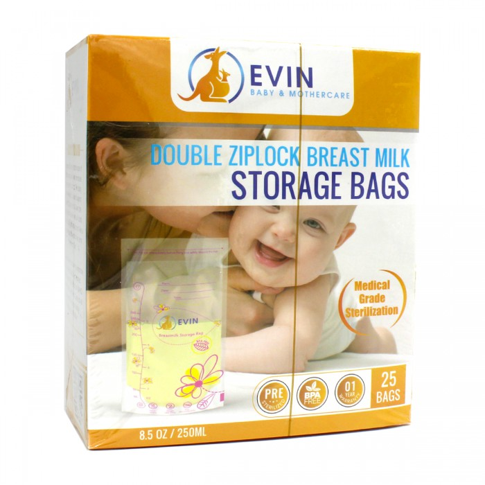 EVIN Double Ziplock Breast Milk Storage Bags (25 bags)