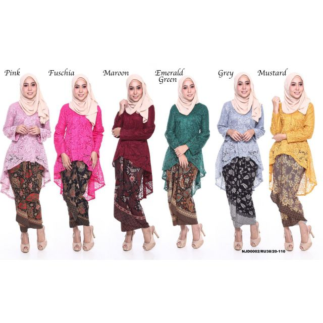 READY STOCK Traditional Kebaya Fishtail Lace With Pario Skirt (SIZE M - 2XL)