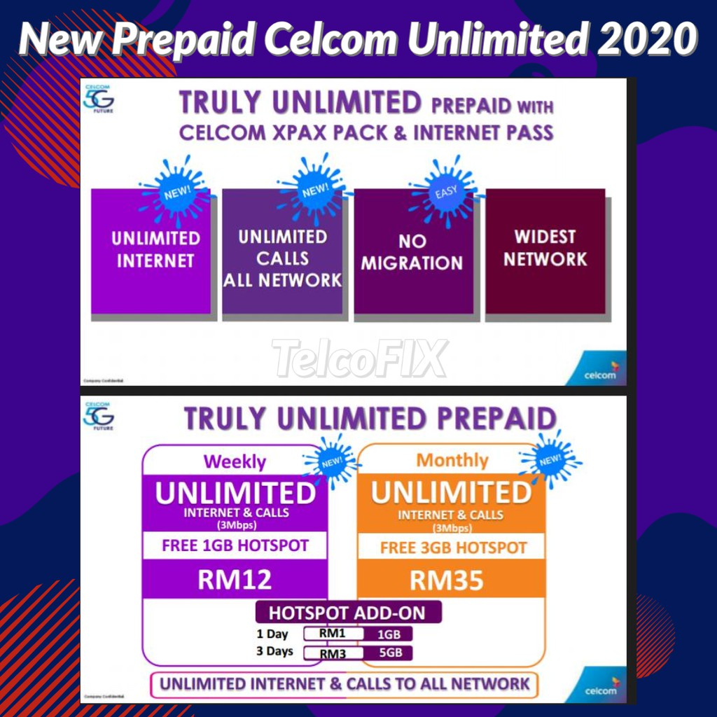 Prepaid Celcom Unlimited Data Call To All Network Shopee Malaysia
