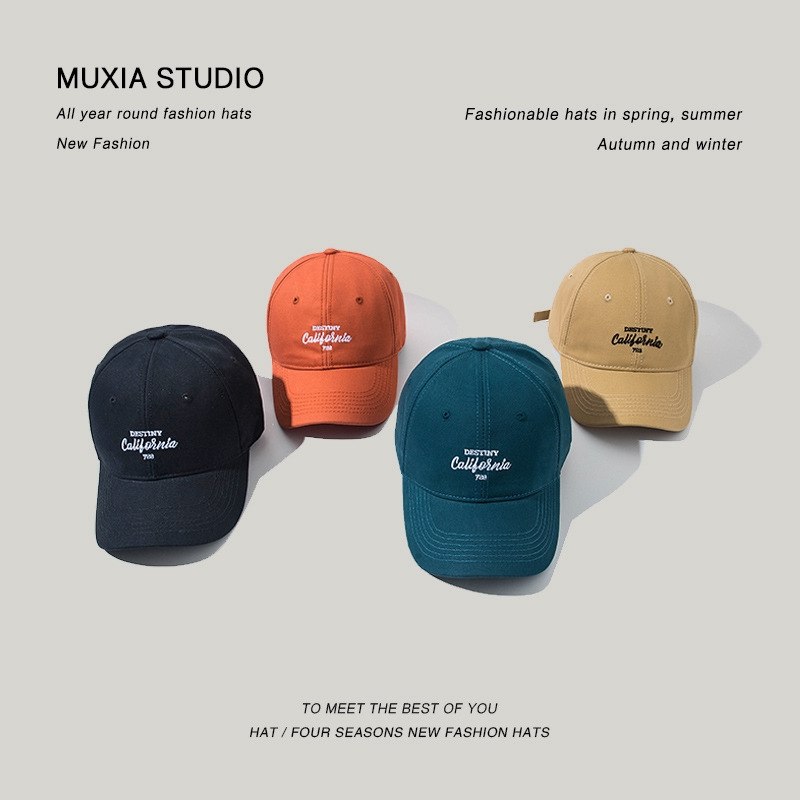 Mens Hats Stylish Wild Adjustable Baseball Caps with Letters Embroidery Autumn Male Soft-top Duck Tongue Cap