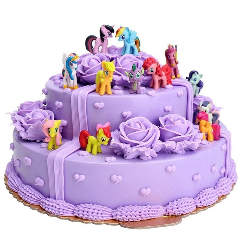 Phenomenal 12Pcs My Little Pony Friendship Is Magic Cake Figure Kids Toy Mlp Funny Birthday Cards Online Eattedamsfinfo