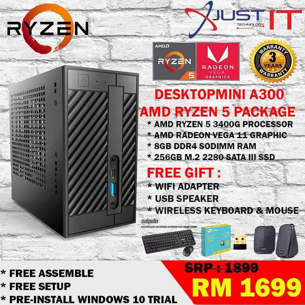 Amd Ryzen 5 3400g 4 2ghz 8gdr4 256gb Ssd Radeon Rx Vega 11 Graphics Desktopp A300 Package Shopee Malaysia