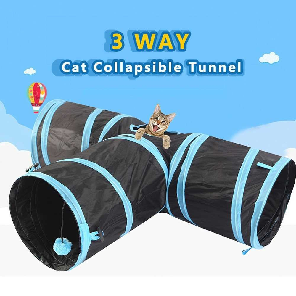 Cat Tunnel 3 Way Pet Play Tunnel Collapsible Tunnel Toy for Cats Dogs Rabbits Pets (Blue)