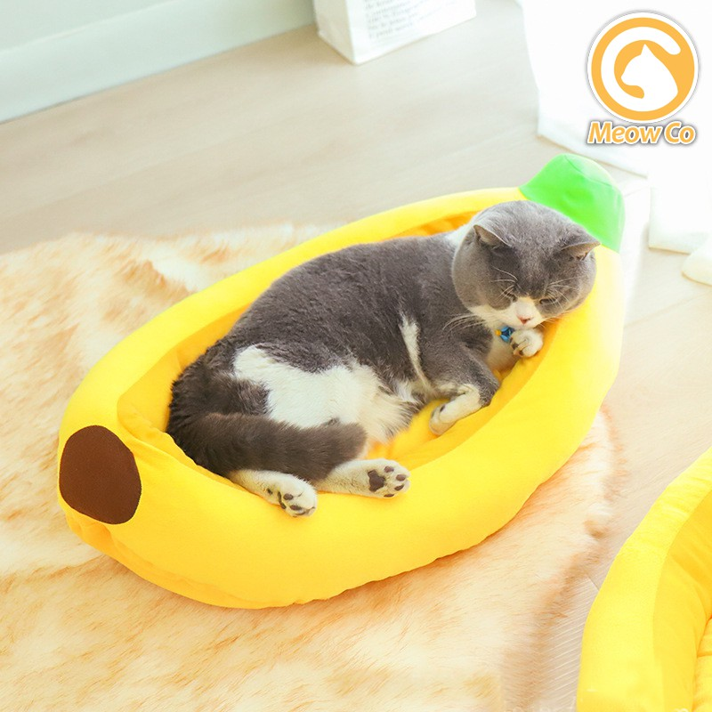 Meow Co / Banana Bed / Cat Bed Pet Sleeping Bed Soft Cat cuddle bed Cute Banana Cat Bed House Christmas Pet Bed Soft
