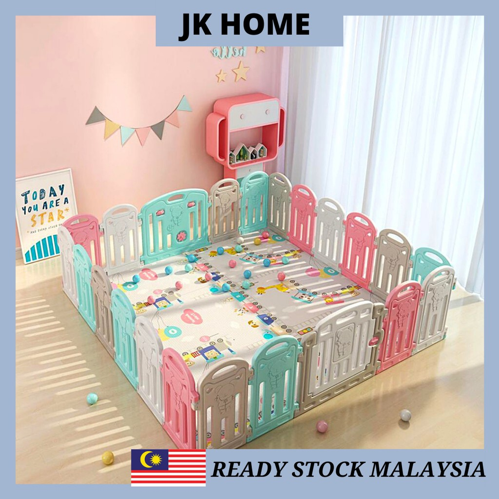 JK HOME Baby Fence Easy Foldable 8/12/14/16 Panels Kid Safety Gaming Fence Baby Play Yard Playpen