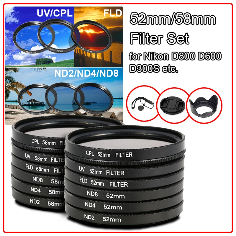 3pcs//Set 49 52 55 58 62 67 72 77mm ND2 ND4 ND8 Neutral Density Filter with Box for Canon for Nikon DSLR Lens with Tracking 77mm ND UV CPL Filter