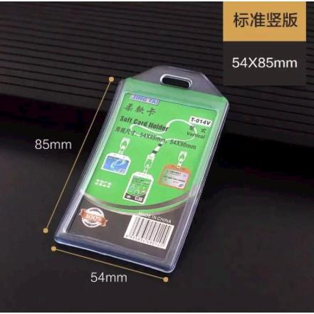 Soft PVC Card Holder Transparent Vertical Badge ID Card Holder T-014V