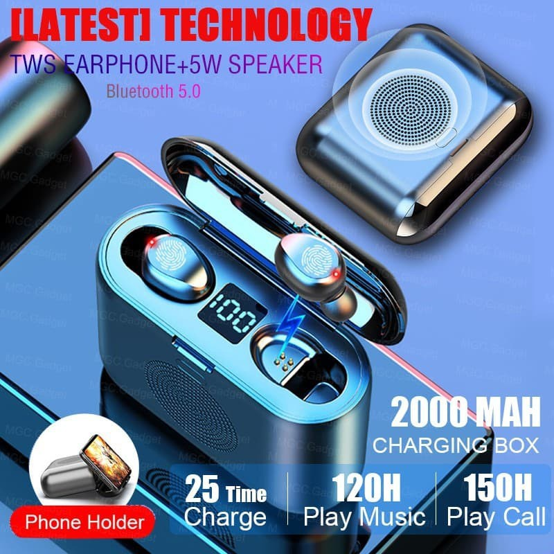 TWS 5.0 Bluetooth Earphones Wireless Earbuds Touch Control Headset AirDots Bass Voice Headphones (BLACK)