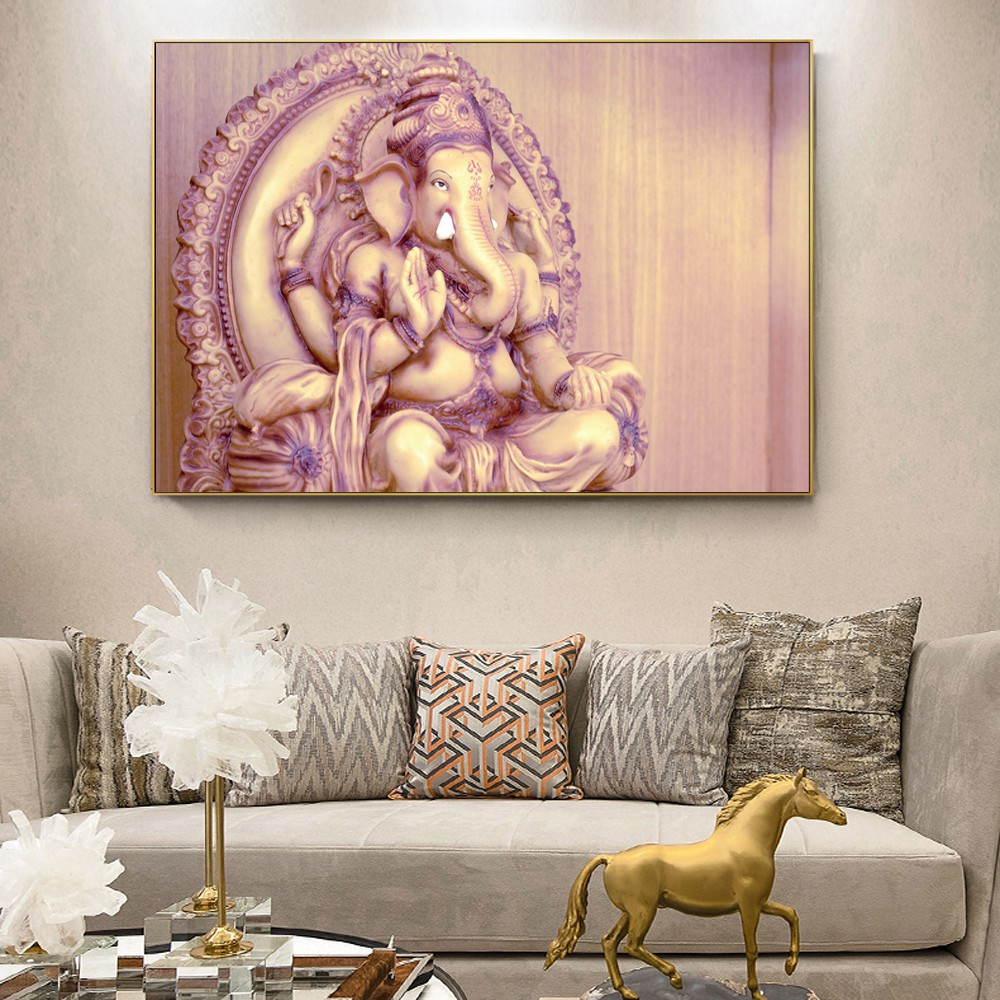 Ganesha Hindu God Canvas Painting Print Living Room Home Decoration Modern Wall Art Oil Painting Posters Pictures Accessories Shopee Malaysia