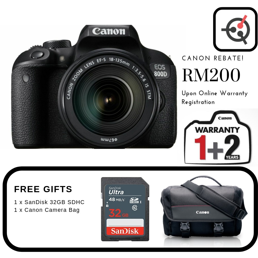 Canon EOS 800D EF-S 18-135 IS STM Kit (Canon Malaysia)