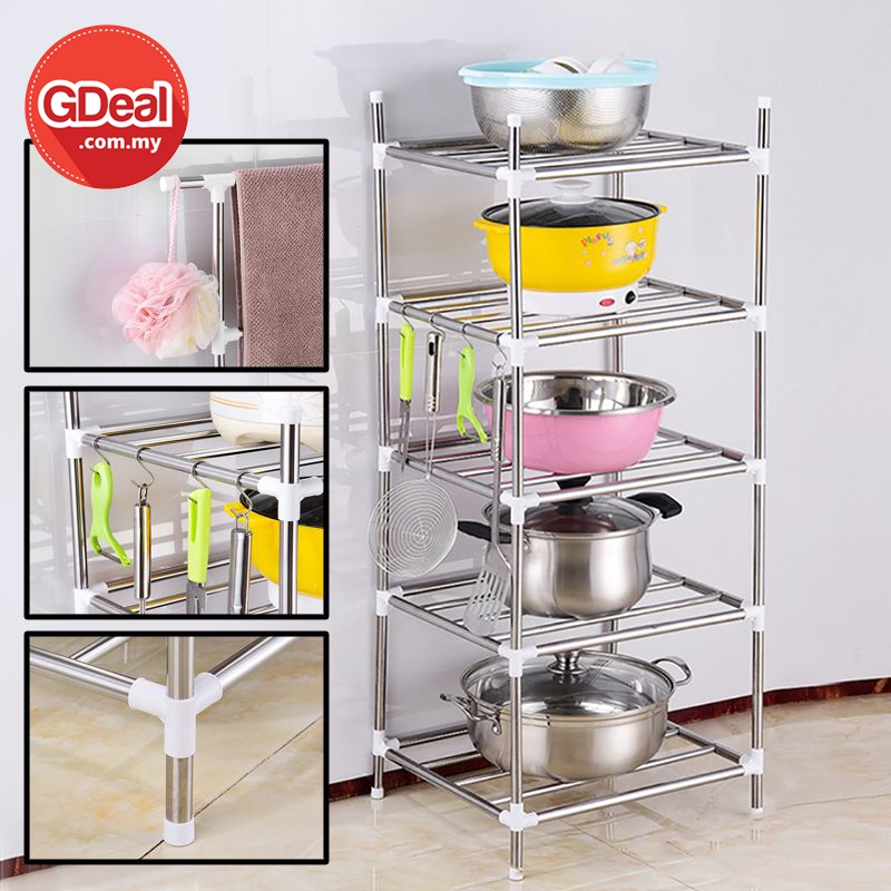 GDeal 5-Tier Kitchen Storage Rack Stainless Steel Cookware Organizer Rack With Removable Hooks