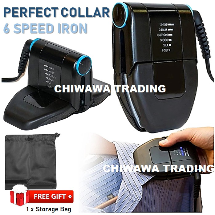 6 Speed Electric Perfect Collar Iron Handheld Compact Machine Portable Foldable Touch up Travel Iron / Seterika Baju