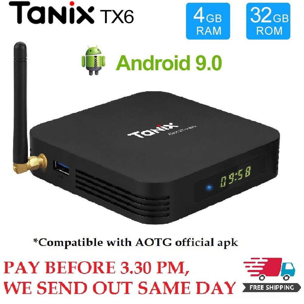 Tanix Tx6 4GB RAM 32GB ROM Android 9 Free 1000+ Live Channel Android Box