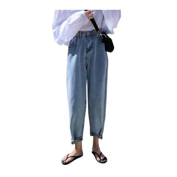 กางเกงยีนส์ขายาว เอวสูง แฟชั่นสุดฮิตสำหรับสาววัยทีน แต่งติดกระดุมปลายขา  รุ่น 2698