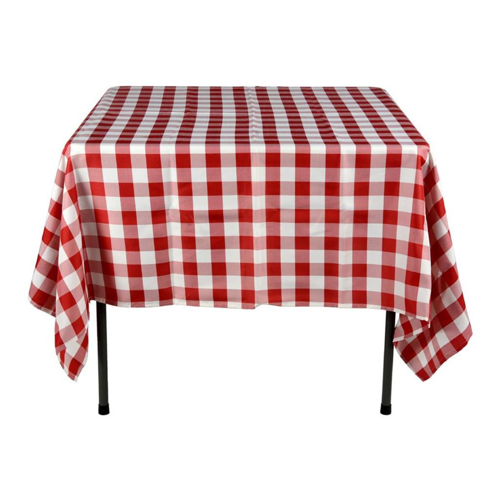 Lapik Meja Makan Pakai Buang Plastik Corak Checkered
