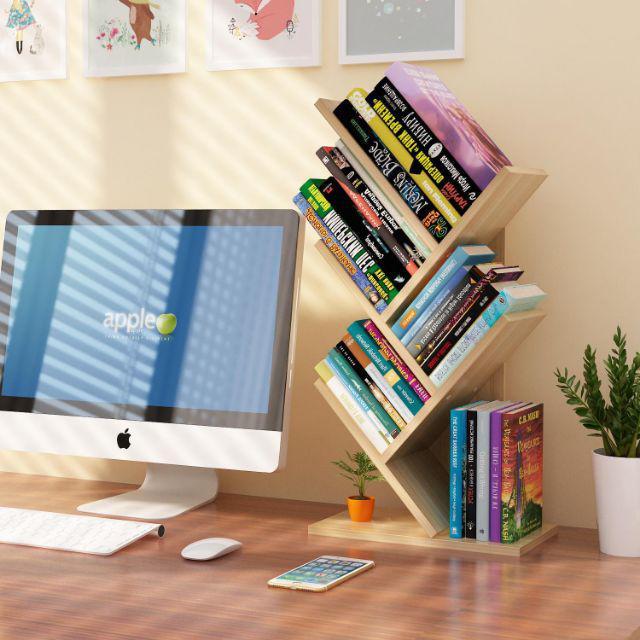 [ READY STOCK ]  Simple Modern Tree Shape Student Bookcase Floor Creative Stable Book Rack Jualan Murah Rak Buku Simpanan