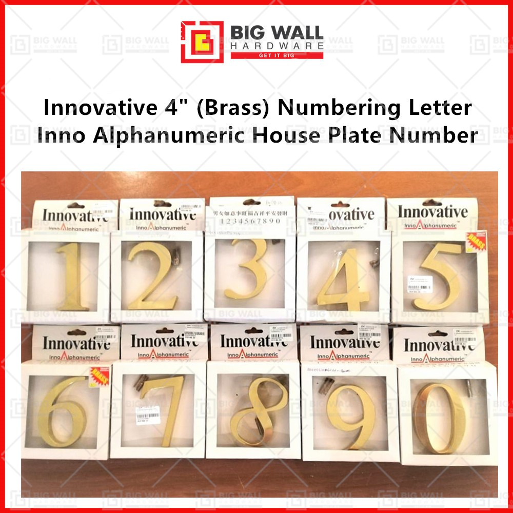Innovative 4 Inch Brass Material Inno Alphanumeric House Plate Number Big Wall Hardware