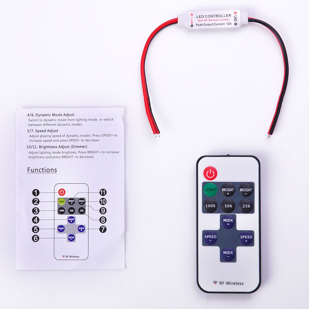 Mini 12v Rf Wireless Remote Switch Controller Dimmer For Led Strip Controlled Lightdimmer Light Shopee Malaysia