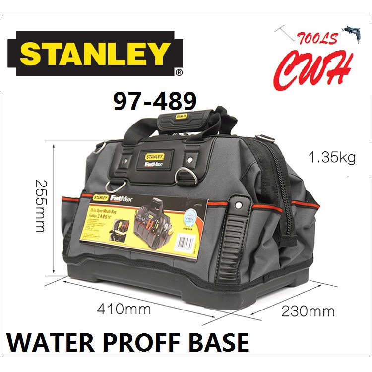 "Stanley 97-489 16"" FatMax Open Mouth TOOL Bag TOOLS STORAGE ORGANISER 97489 CWH TOOLS BLACK HARDWARE BLACKHOME"