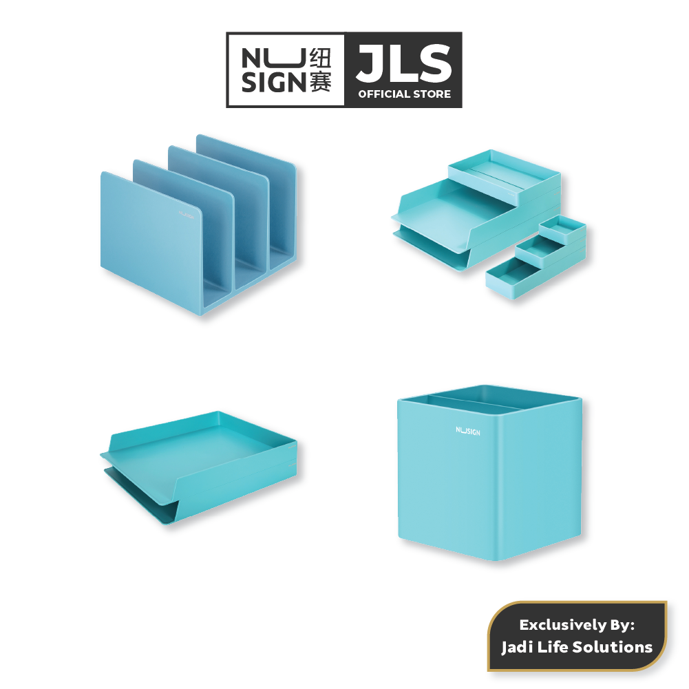 Jadi NuSign Lagoon Blue Bookstand Desk Organizer File Tray Pen Holder Blue Premium Office Set