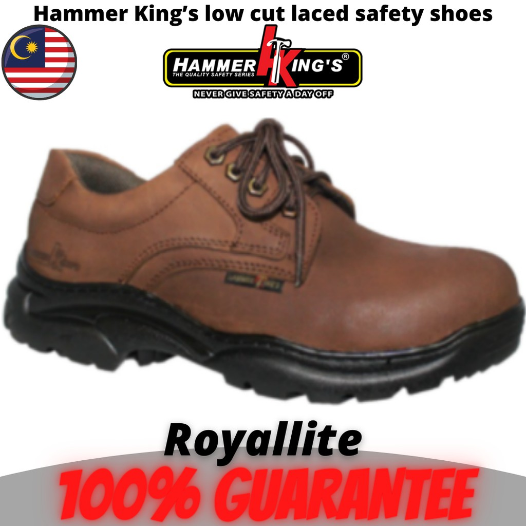 Hammer King's Safety Shoes Boots Steel Toe Cap Steel Mid Plate Low Cut Lace Up Leather (13012) Brown