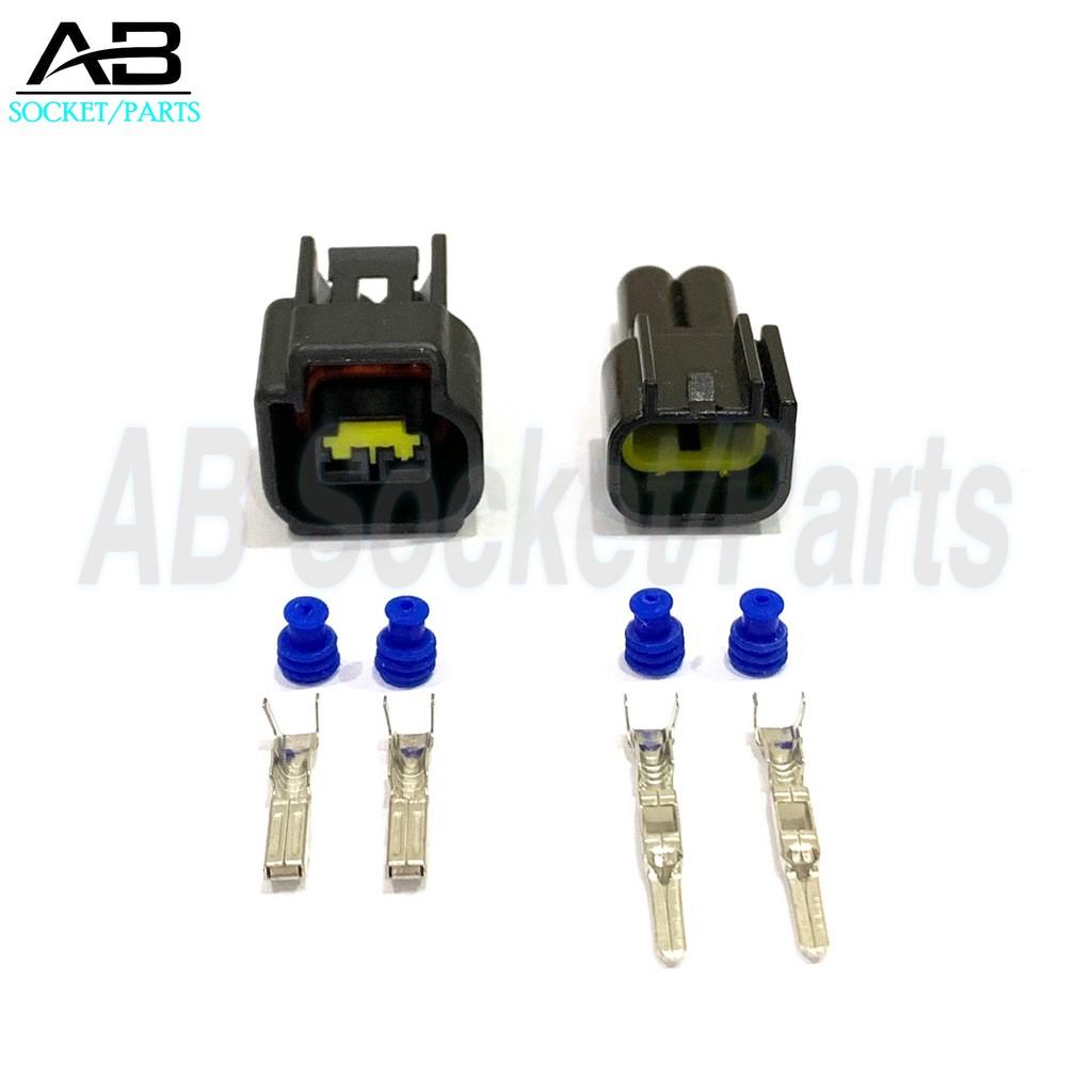 2 Pin Ford Mitsubishi Pajero Ignition Plug Coil BMW Sensor (Male+Female)  Socket Connector