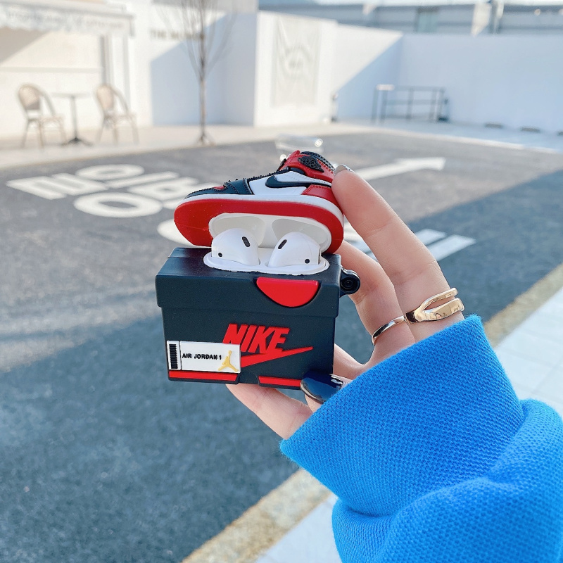 Nike Air Jordan case mini shoe shoebox AirPods  shape silicone protective cover  wireless bluetooth headset