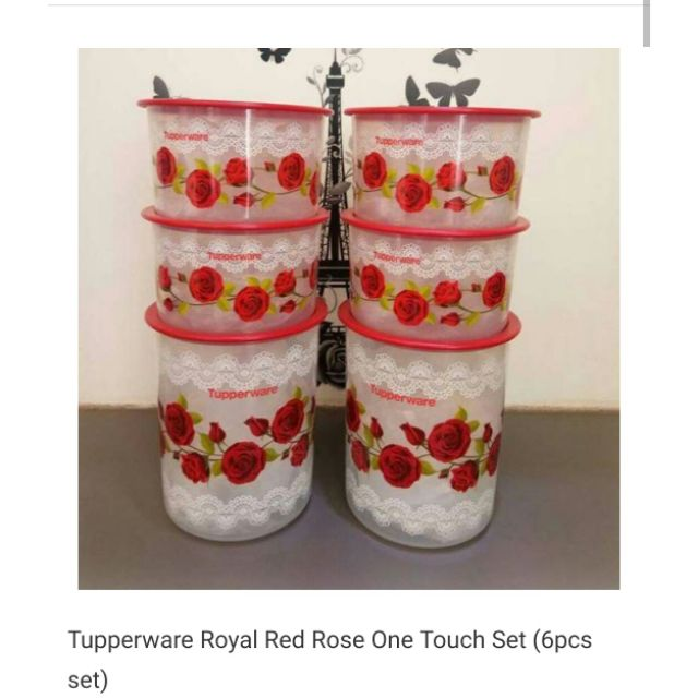 Tupperware Royal Red Rose One Touch Set 6 pcs set