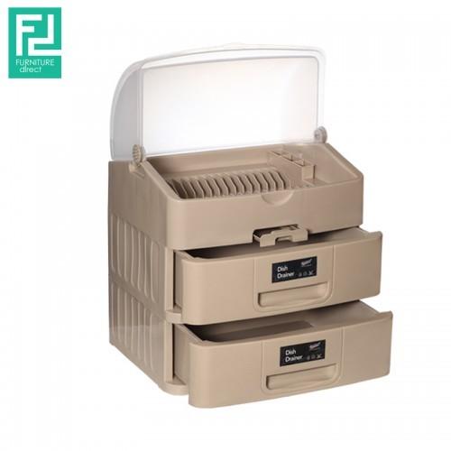 Century 6880-2 multipurpose dish drainer with drawer- brown