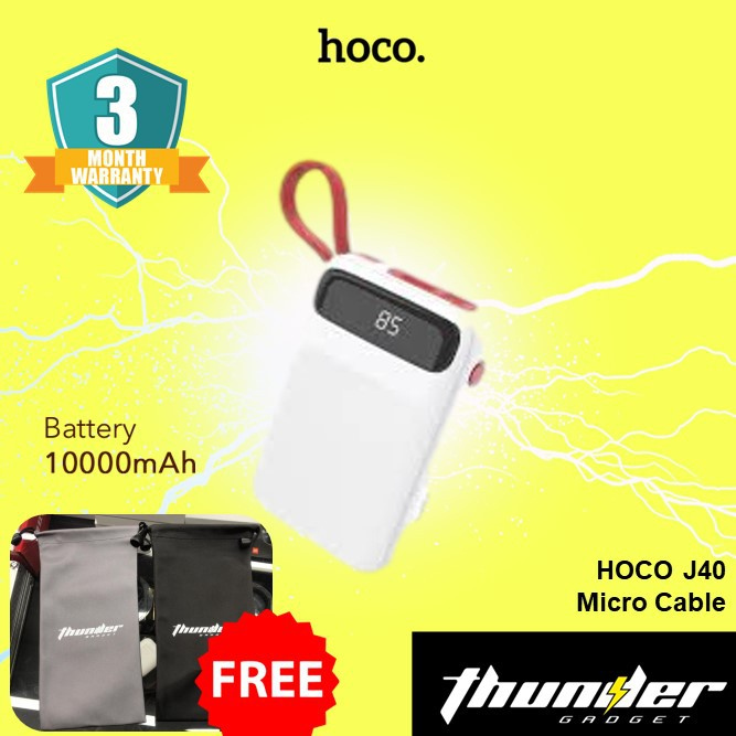 HOCO J40 POWERFUL MOBILE POWER BANK 10000MAH (MIRCO CABLE) [FREE POWER BANK POUCH]