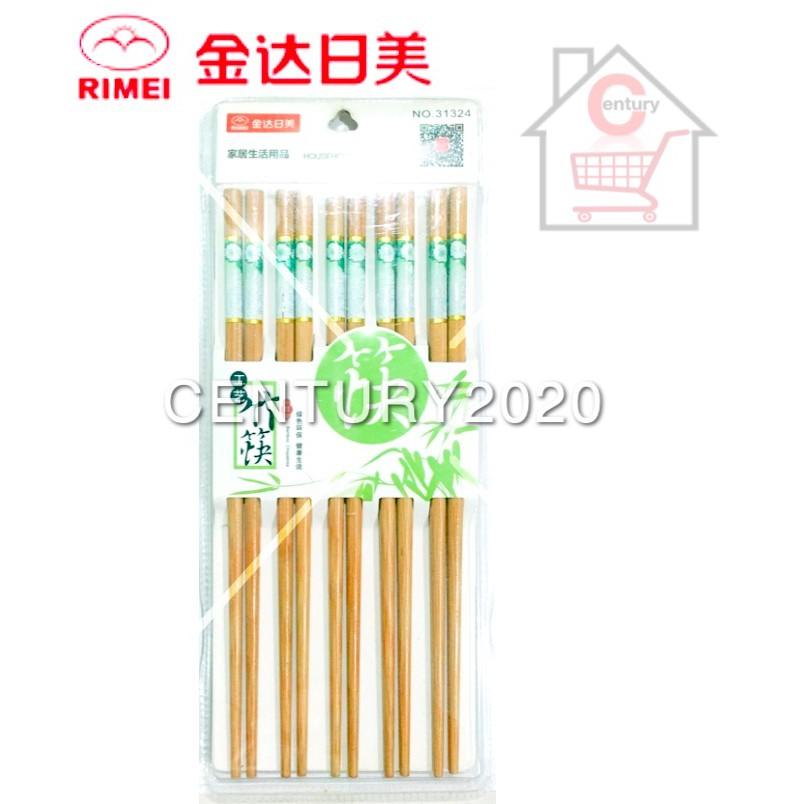 RIMEI Painted Printing Bamboo Chopstick Flower Printing 10 Pairs 31324